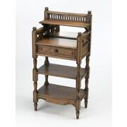 AA Importing 2 Shelf Stand w/ Drawer and Mirror; Walnut