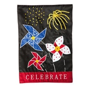 Evergreen Enterprises, Inc Applique Patriotic Pinwheel & Firework Vertical Flag