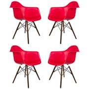 eModern Decor Scandinavian Arm Chair (Set of 4); Red