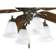 Progress Lighting Renovations 4 Light Branched Ceiling Fan Light Kit; Forged Bronze