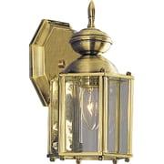 Progress Lighting Beveled Glass 1 Light Wall Lantern; Brass