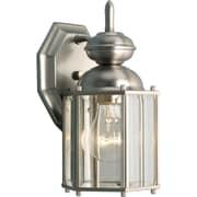 Progress Lighting Beveled Glass 1 Light Wall Lantern; Brushed Nickel