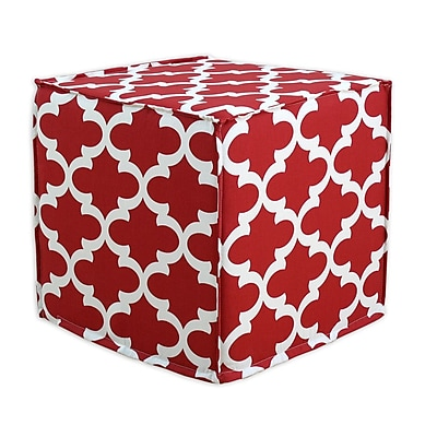 Brite Ideas Living Fynn Seamed Cube Ottoman; Timberwolf Macon WYF078278530514