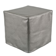 Brite Ideas Living Glade Runner Hassock Seamed Cube Ottoman; Steel
