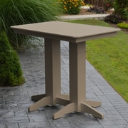 A&L Furniture Poly Bar Table; Weathered Wood