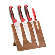 Mercer Cutlery Millennia 5 Piece Acacia Magnetic Cutlery/Board Set; Red