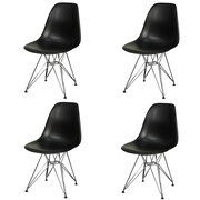 New Pacific Direct Allen Side Chair w/ Metal Wire Legs (Set of 4); Black by