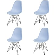 New Pacific Direct Allen Side Chair with Metal Wire Legs (Set of 4); Blue