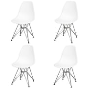 New Pacific Direct Allen Side Chair w/ Metal Wire Legs (Set of 4); White/ by