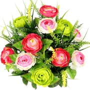 AdmiredbyNature Artificial Ranunculus and Fillers Mixed Flowers Bush; Velvet/Pink/Kiwi