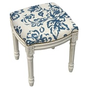 123 Creations Toile Linen Upholstered Vanity Stool w/ Nailhead; Navy Blue
