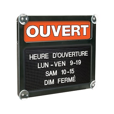 HeadLine Sign 4045 Open/Closed Double-Sided French Tabbee Board, Black Panel, 13