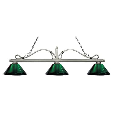 Z-Lite 114-3AS-ARG Melrose Island/Billiard Light Fixture, 3 Bulb, Green