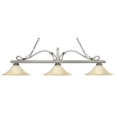 Z-Lite – Luminaire suspendu Melrose pour îlot/table de billard 114-3AS-FGM16, 3 amp., évasé, marbre doré