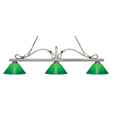 Z-Lite 114-3AS-GCG14 Melrose Island/Billiard Light Fixture, 3 Bulb, Green Cased