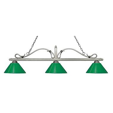 Z-Lite – Luminaire suspendu Melrose pour îlot/table de billard 114-3AS-PGR, 3 amp., vert