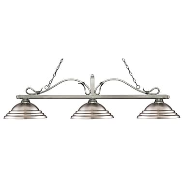 Z-Lite 114-3AS-SBN Melrose Island/Billiard Light Fixture, 3 Bulb, Stepped Brushed Nickel