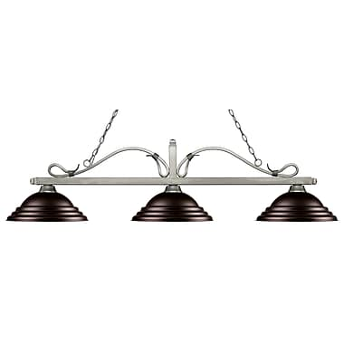 Z-Lite 114-3AS-SBRZ Melrose Island/Billiard Light Fixture, 3 Bulb, Stepped Bronze