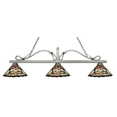 Z-Lite – Luminaire suspendu Melrose pour îlot/table de billard 114-3AS-Z14-10, 3 amp., Tiffany multicolore