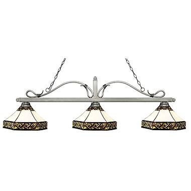 Z-Lite – Luminaire suspendu Melrose pour îlot/table de billard 114-3AS-Z16-30, 3 amp., Tiffany multicolore