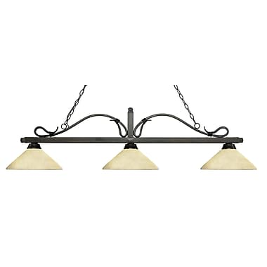 Z-Lite – Luminaire suspendu Melrose pour îlot/table de billard 114-3GB-AGM14, 3 amp., marbre doré