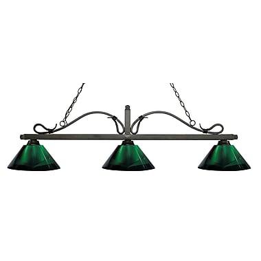 Z-Lite 114-3GB-ARG Melrose Island/Billiard Light Fixture, 3 Bulb, Green