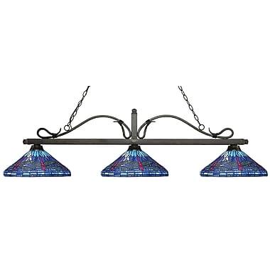 Z-Lite 114-3GB-D16-1 Melrose Island/Billiard Light Fixture, 3 Bulb, Multi-Coloured Tiffany