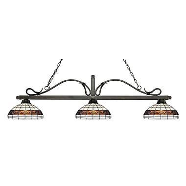 Z-Lite – Luminaire suspendu Melrose pour îlot/table de billard 114-3GB-F14-1, 3 amp., Tiffany multicolore