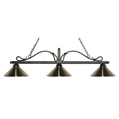 Z-Lite 114-3GB-MBN Melrose Island/Billiard Light Fixture, 3 Bulb, Brushed Nickel
