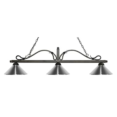 Z-Lite – Luminaire suspendu Melrose pour îlot/table de billard 114-3GB-MCH, 3 amp., chrome