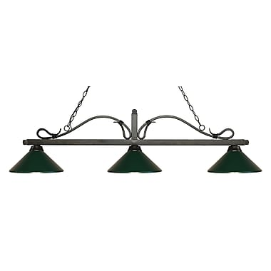 Z-Lite 114-3GB-MDG Melrose Island/Billiard Light Fixture, 3 Bulb, Dark Green