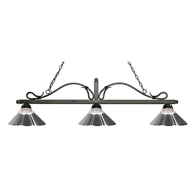 Z-Lite 114-3GB-RCH Melrose Island/Billiard Light Fixture, 3 Bulb, Clear Ribbed Glass and Chrome