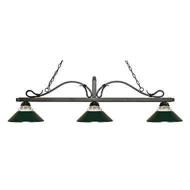 Z-Lite 114-3GB-RDG Melrose Island/Billiard Light Fixture, 3 Bulb, Clear Ribbed Glass and Dark Green