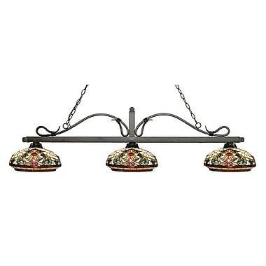 Z-Lite – Luminaire suspendu Melrose pour îlot/table de billard 114-3GB-Z14-34, 3 amp., Tiffany multicolore