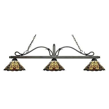 Z-Lite 114-3GB-Z14-46 Melrose Island/Billiard Light Fixture, 3 Bulb, Multi-Coloured Tiffany
