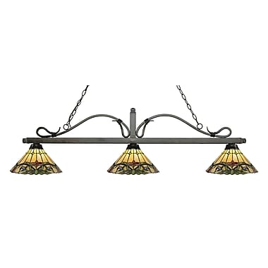 Z-Lite – Luminaire suspendu Melrose pour îlot/table de billard 114-3GB-Z14-49, 3 amp., Tiffany multicolore