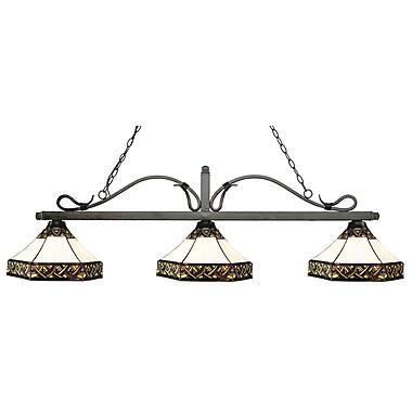 Z-Lite – Luminaire suspendu Melrose pour îlot/table de billard 114-3GB-Z16-30, 3 amp., Tiffany multicolore