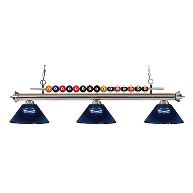 Z-Lite 170BN-ARDB Shark Island/Billiard Light Fixture, 3 Bulb, Acrylic Dark Blue