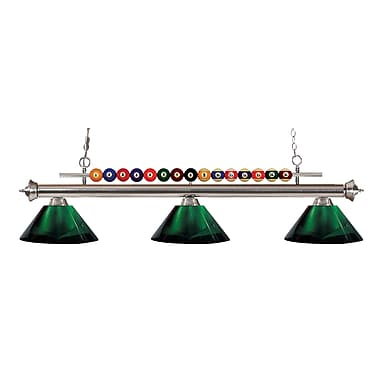 Z-Lite 170BN-ARG Shark Island/Billiard Light Fixture, 3 Bulb, Acrylic Green