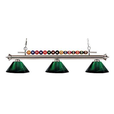 Z-Lite – Luminaire suspendu Shark pour îlot/table de billard 170BN-ARG, 3 amp., acrylique vert