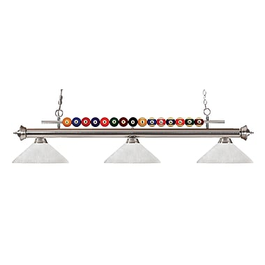 Z-Lite 170BN-AWL14 Shark Island/Billiard Light Fixture, 3 Bulb, Angle White Linen