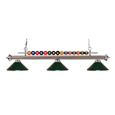 Z-Lite 170BN-MDG Shark Island/Billiard Light Fixture, 3 Bulb, Dark Green