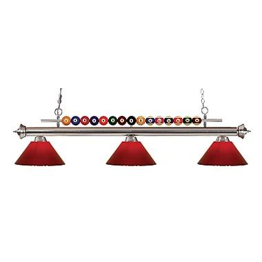Z-Lite – Luminaire suspendu Shark pour îlot/table de billard 170BN-PRD, 3 amp., rouge