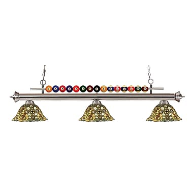 Z-Lite 170BN-R14A Shark Island/Billiard Light Fixture, 3 Bulb, Multi-Coloured Tiffany
