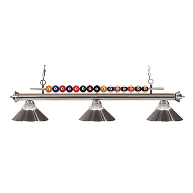 Z-Lite 170BN-RBN Shark Island/Billiard Light Fixture, 3 Bulb, Clear Ribbed Glass and Metal Brushed Nickel