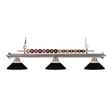 Z-Lite – Luminaire suspendu Shark pour îlot/table de billard 170BN-RMB, 3 amp., verre strié transparent et métal noir mat