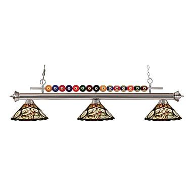 Z-Lite – Luminaire suspendu Shark pour îlot/table de billard 170BN-Z14-10, 3 amp., Tiffany multicolore