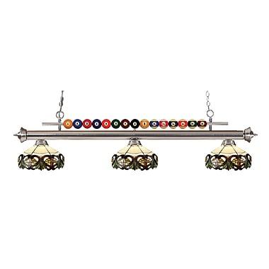 Z-Lite 170BN-Z14-33 Shark Island/Billiard Light Fixture, 3 Bulb, Multi-Coloured Tiffany