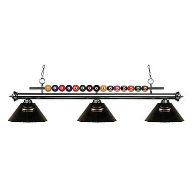 Z-Lite – Luminaire suspendu Shark pour îlot/table de billard 170GM-ARS, 3 amp., acrylique couleur fumée