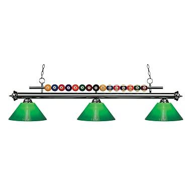 Z-Lite – Luminaire suspendu Shark pour îlot/table de billard 170GM-GCG14, 3 amp., boîtier vert